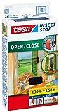tesa Insect Stop COMFORT Fliegengitter zum Öffnen und Schließen / Insektenschutz mit selbstklebendem Klettband in Anthrazit / 130 cm x 150 cm