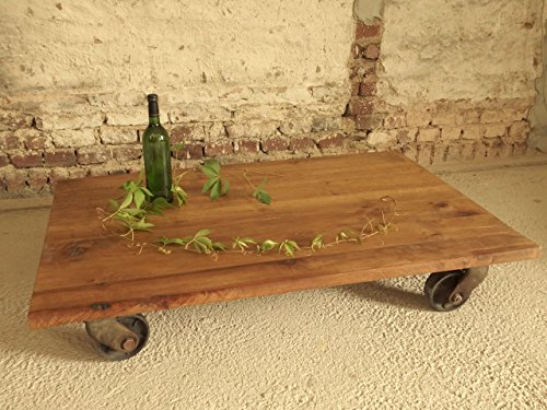 Tisch mit alten DDR Industrierollen, Industriedesign, Industrielook, Loft-Tisch, Couchtisch, Beistelltisch, Unikat, Handmade in Germany, Maße 120 x 76 x 22 cm
