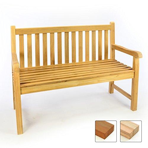 DIVERO 2-Sitzer Bank Holzbank Gartenbank Sitzbank 120 cm – zertifiziertes Teak-Holz unbehandelt hochwertig massiv – reine Handarbeit – wetterfest (Teak natur)