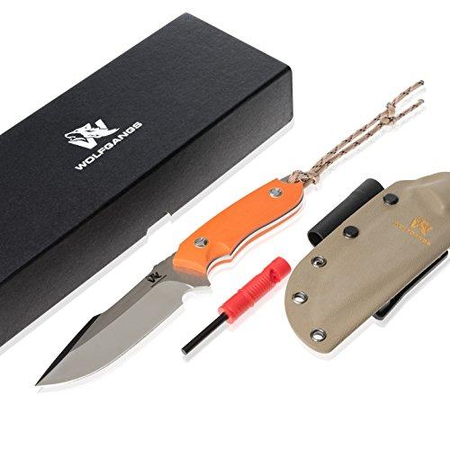 Wolfgangs Outdoor-Messer mit Kydex Holster - Aus einem Stück D2 Stahl gefertigt - Inklusive Feuer-Starter und Notpfeife (Orange)
