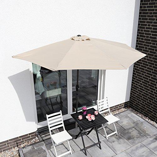 Sekey Ampelschirm 300 cm Sonnenschirm Gartenschirm Kurbelschirm mit Kurbelvorrichtung Sonnenschutz UV50+ Grau
