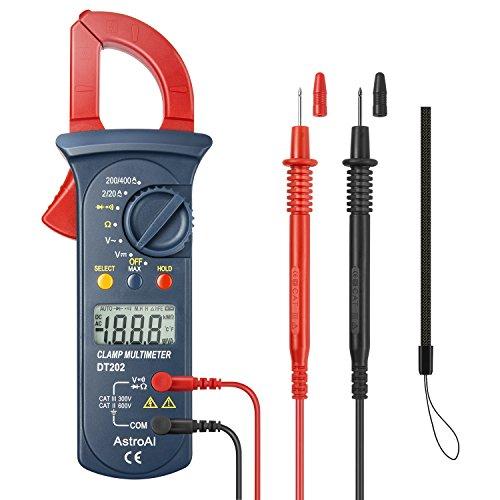 AstroAI Digitaler Stromzange Multimeter Mit 2000 Counts, Auto Range, Spannungsprüfer, Wechselstrom, Widerstand, Kontinuität; Testet Dioden, Rot/Schwarz