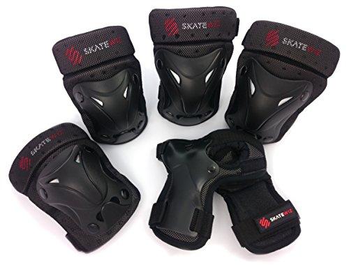 SKATEWIZ Protect-1 S Schutzausrüstung Inliner Unisex für Kinder von 8 bis 12 Jahre (schwarz)