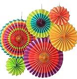 SUNBEAUTY 6er Set Tissue Papier Fans Fächer Dekoration für Party Feier Hochzeit Geburtstag Kombination 21cm 31cm 42cm (Bunt)