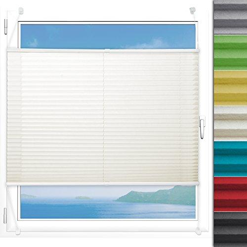 Plissee Rollo Magic   moderner Sichtschutz mit Crushed Optik   Fensterrollo mit Klemmfix ohne Bohren   Klemmrollo Größen (Creme Weiß - 120 cm breit und 150 cm lang)