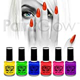 paintglow UV-Reactive Neon Glow Nagellack (6 Pack) Festival Halloween Make-up