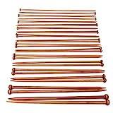 Pixnor 18 Größen verschwelt Bambus einzelne Nadelspiel Stricknadeln (2.0 mm - 10 mm)