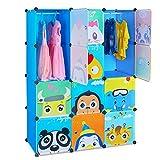 HOMFA Kinder Kleiderschrank (Blau)
