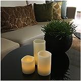 Rummershof LED Kerzen Set aus Echtwachs: 3 Echtwachskerzen inkl. Batterien (klein)