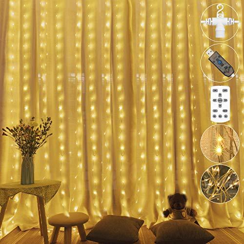 300 LED USB Lichtervorhang,3M*3M Weihnachtsbeleuchtung Warmweiß 8 Verschiedene Modi der Fernbedienung Timer Lichterkette Fenster für Innen und Außen, deko schlafzimmer, Party, zimmer,IP65 Wasserdicht