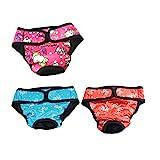 UEETEK 3 Pcs Hundewindeln Inkontinenz einstellbar und waschbar Hundeschutzhose für Hündinnen Baumwolle Unterwäsche Größe XS