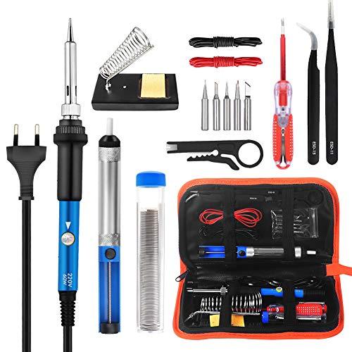 Lötkolben Set, Volador Neuester 16 in1 Lötsatz, 60W Lötkolbenpistole mit tragbarem Schalter und einstellbarer Temperatur für DIY- oder Elektrotechnik Reparaturen Profi Enthusiast
