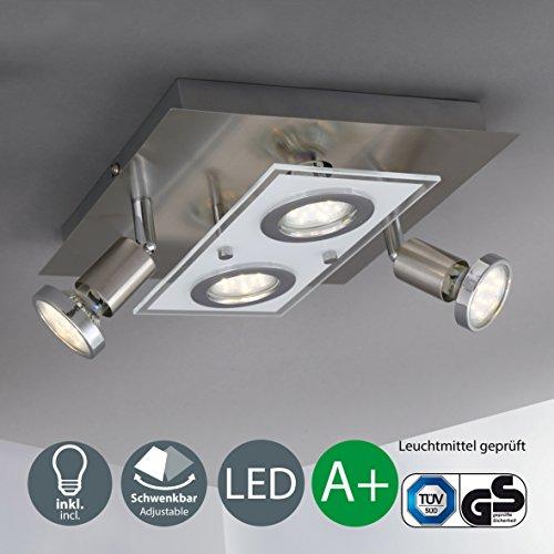 LED Deckenleuchte I Deckenlampe inkl. 4 x 3 W Leuchtmittel I GU10 Lampenfassung I moderner Deckenstrahler I 2 schwenkbare Licht-Spots I 4 flammige, eckige Wohnzimmer-Lampe I 230 V I IP20