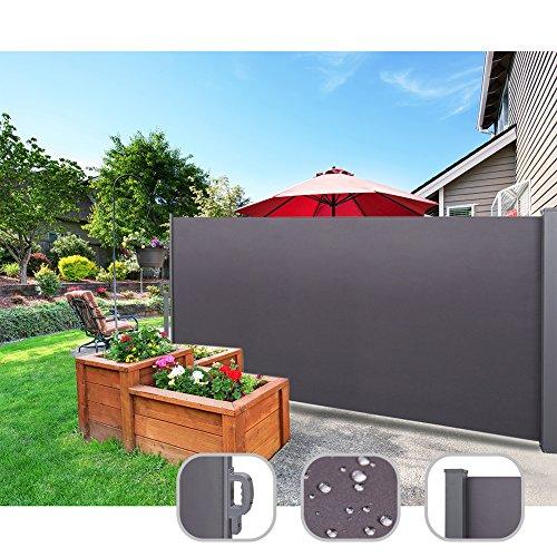 CCLIFE Seitenmarkise Ausziehbar Sichtschutz Windschutz Sonnenschutz - Diverse Farben und Größen, Farbe:Anthrazit, Größe:160x300cm