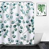 NIBESSER Duschvorhang 180x200 & 180x180 Duschvorhang-Anti-Schimmel-Wasserabweisend-Duschvorhangringen 12 Shower Curtain mit 3D Digitaldruck Grüne Pflanzen