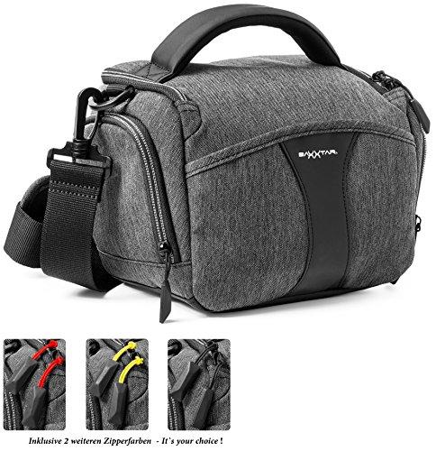 Baxxtar Modena Bridge SLR Kameratasche mit Regencape Schultergurt Gürtelschlaufe/DREI Farben Zipperband - Fuer Canon EOS 200D 750D 1300D - Nikon D3500 D5600