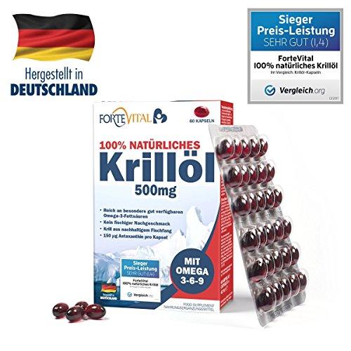 NATÜRLICHES Krill Öl 500mg Premium mit Omega 3| Omega 6| Omega 9 | 60 Kapseln (Krillöl) mit 14 mg Astaxanthin pro 100g / hochdosiert von ForteVital