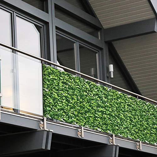 Balkon Sichtschutz PVC   90x600 cm   Extra Blickdicht   Wetterfest   mit UV-Schutz   Deko für Balkongeländer   6 Farben & Designs (Buchsbaum)
