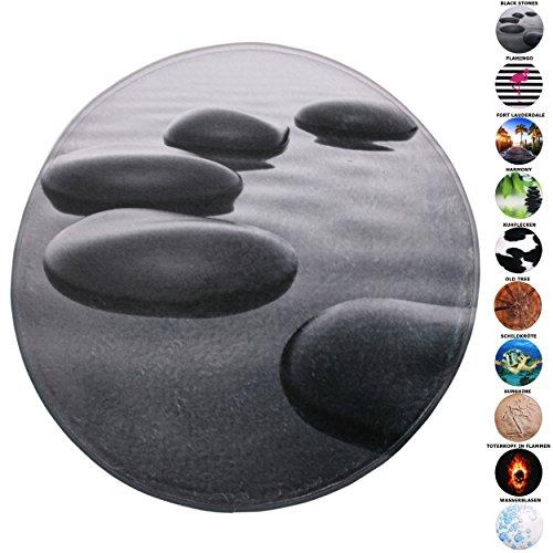 Badteppich Rund, viele schöne Runde Badteppiche zur Auswahl, hochwertige Qualität, sehr weich, schnelltrocknend, waschbar, 80 cm (Black Stones, 80 cm)
