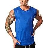 OSYARD Herren Sommer T-Shirt, Men's Fitnessstudios Bodybuilding Tops Fitness Ärmelloses Muskelshirt Weste,Heißer Verkauf Freizeit Rundhals Solide Tank