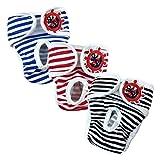 E-Kauf 3er Pack waschbar Schutzhose Hygieneunterhose aus Baumwolle für Hündin (L)
