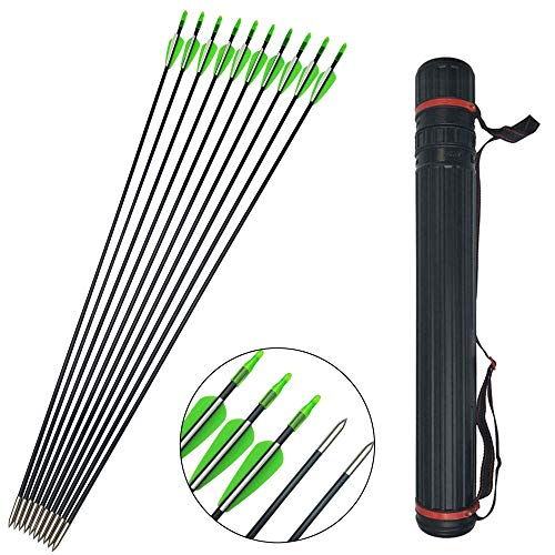 SHARROW 12pcs Fiberglaspfeile Bogen und Pfeile 31 Zoll Bogenpfeile für Bogenschießen mit Köcher für Pfeile Pfeilköcher Recurvebogen Zielübungspfeile (Grün)