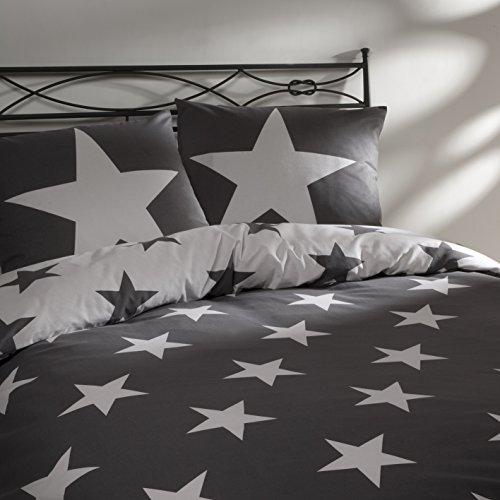 Aminata – Bettwäsche 135x200 cm Baumwolle + Reißverschluss Sterne Grau Anthrazit Weiß Bettbezug Sternchen Stars Wendebettwäsche 2-teiliges Bettwäscheset Bezug Ganzjahr Normalgröße Jungen Mädchen
