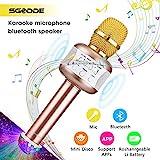 Bluetooth Karaoke Mikrofon mit Disco-Lichtern, SGODDE Kinder tragbare Mikrofon mit Lautsprecher für Erwachsene und Sohn oder Tochter für Sprach- und Gesangsaufnahmen,kompatibel mit Android/IOS, PC,