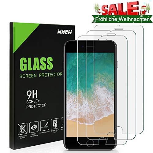 Whew Panzerglas Schutzfolie Kompatibel iPhone 6/6S, [3 Stück] 9H Härte Panzerglasfolie,HD Ultra Transparent Schirm Displayschutzfolie,Anti Öl,Kratzen und Fingerabdrücke Blasenfrei,3D Touch Kompatibel