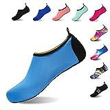 HMIYA Badeschuhe Strandschuhe Wasserschuhe Aquaschuhe Schwimmschuhe Surfschuhe Barfuß Schuhe für Damen Herren(Blau,Größe46 47)