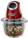 Russell Hobbs 24660-56 Desire Mini-Zerkleinerer, Ein-Hand-Bedientaste, Glasbehälter mit zusätzlichem Deckel, Rot/Schwarz