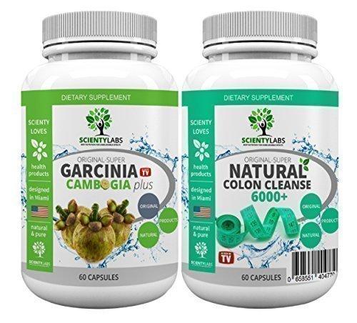 SUPERPACK! - Super Garcinia Cambogia + Detox colon cleanse 6000+. US Original von ScientyLabs mit purem! Garcinia Cambogia + aktuell stärkster SL colon cleanser