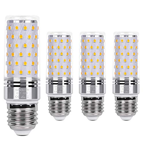 E27 Maiskolben Led Lampe 12W E27 Led Mais Birne Warmweiß 3000K 1350LM Entspricht Glühbirnen 100W Nicht Dimmbar Energiesparlampe Kleine Edison-Schraube Kerze Leuchtmittel E27 von SanGlory(4er-Pack)