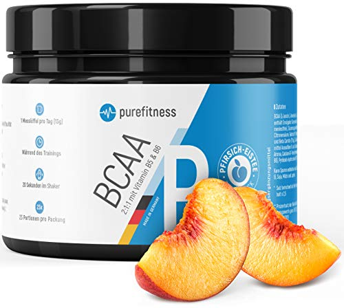 PREMIUM BCAA Pulver 2:1:1 + Vitamin B5 & B6 mit innovativer Rezeptur I LABORZERTIFIZIERT I BCAAS Pulver MADE IN GERMANY I 300g I Vegan I Aminosäuren Leucin Isoleucin Valin I Pfirsich-Eistee Geschmack