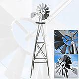 US Windrad 245cm Silber Windmühle Windspiel Kugellager Mühle