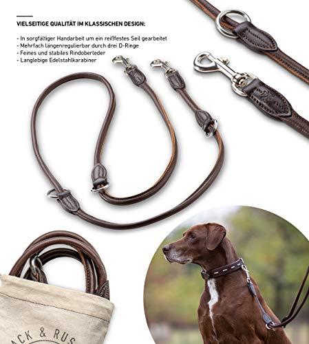 Jack & Russell Premium Leder Hundeleine Nora 2,0m - Hunde Leder Leine mit Karabiner - verstellbar Dora (Braun)