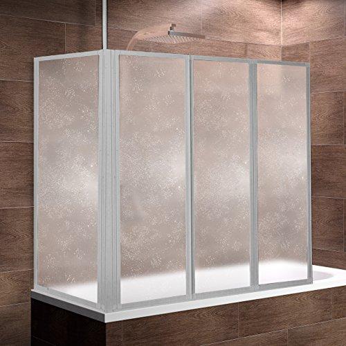Schulte Duschwand Well mit Seitenwand, 129x140 x 75 cm, 3-teilig faltbar, Kunstglas Tropfen-Dekor, Profilfarbe alu-natur, Duschabtrennung für Badewanne