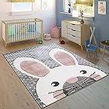 Paco Home Kinderteppich Kinderzimmer Konturenschnitt Niedlicher Hase Grau Creme Rosa, Grösse:140x200 cm