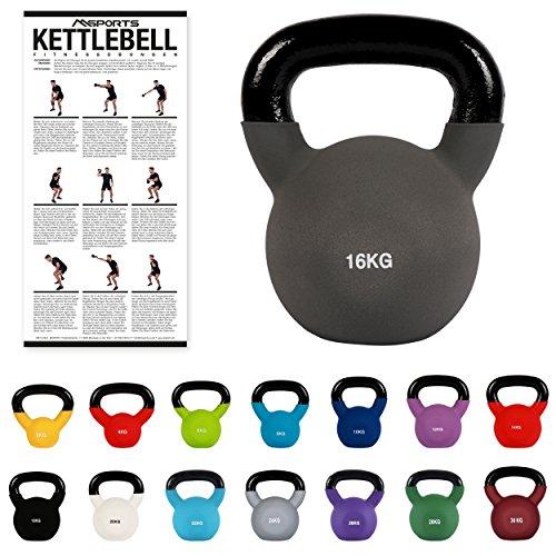 Kettlebell Neopren 2 – 30 kg inkl. Übungsposter (16 Kg - Anthrazit) Kugelhantel