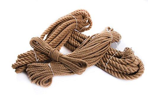 Juteseil Hanfseil Naturhanf Hanf Tau Tauwerk Handlauf Seil alle Stärken (Stärke: 20 mm, 10 Meter)