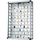Pureday Sammelvitrine aus Aluminium und Glas abschließbar 60 x 94 cm
