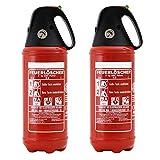 Feuerlöscher 2x 2kg ABC Pulver Auto-Feuerlöscher -sehr handlich- mit KFZ-Drahthalter &. Griffhaube DIN EN 3 inkl. ANDRIS Prüfnachweis mit Jahresmarke &. ISO-Symbolschild
