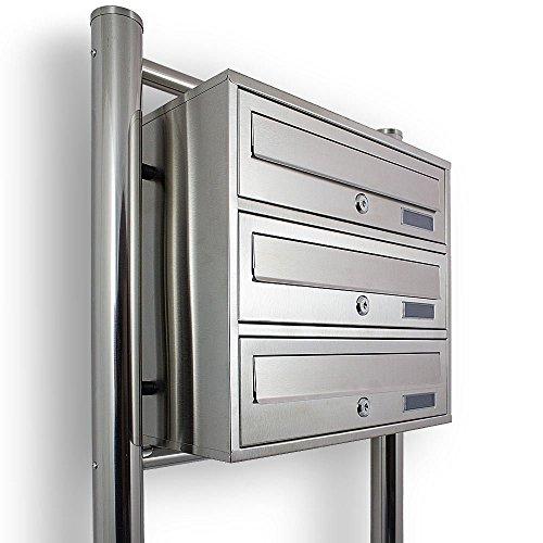 Edelstahl Stand-Briefkastenanlage Postkasten Letterbox Mailbox mit 3 Fächer