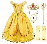 JerrisApparel Belle Kleider Kostüm Party Schick Ankleiden für Prinzessin Mädchen (5 Jahre, Gelb 1 mit Zubehör)
