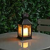 batteriebetriebene Außen/Innen Laterne und Kerze mit täuschend echt wirkenden Flackereffekt , 24cm, von Festive Lights (Schwarz)