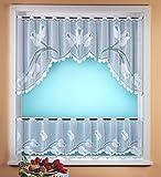 Gardine Scheibengardine C-Bogen Set 2-teilig in rein weiß mit Tulpen - hochwertiger Jaquard - geprüfte Qualität …auspacken, aufhängen, fertig! Bistro Typ317