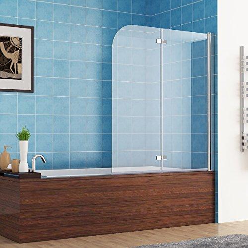120 x 140 cm Badewannen 2 tlg. Faltwand Aufsatz 180° Duschwand Duschabtrennung NANO Glas