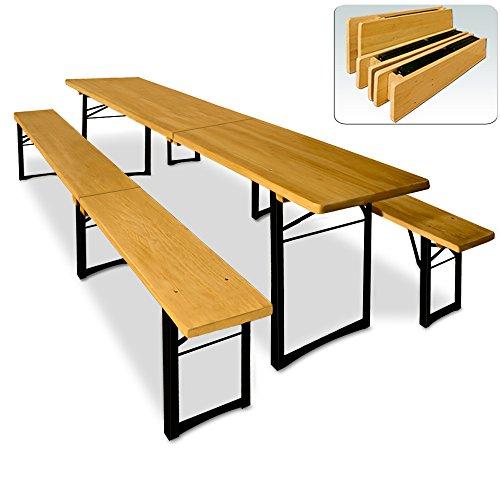 Deuba Bierzeltgarnitur 220cm klappbar  3 Fuß Bierbank  2x Sitzbank 1x Tisch  mittig zusammenklappbar  leicht zu transportieren