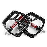 CXWXC Fahrradpedale 9/16 Zoll, Rutschfeste Fahrrad Pedal Mountainbikes Plattform Pedale Aluminiumlegierung Fläche 3 Abgedichtete Läger für MTB BMX Rennrad (Schwarz)