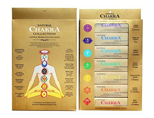 GJ BOON Kollektion Natural Chakra Räucherstäbchen Geschenk Pack. Hand gerollt Räucherstäbchen Sieben Chakren